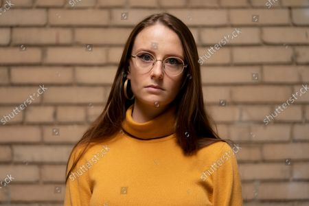 Stock Image of Charlotte Bennett, a former health policy aide to former Gov. Andrew Cuomo, participates in an interview in New York on
