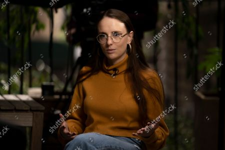 Charlotte Bennett, a former health policy aide to former Gov. Andrew Cuomo, participates in an interview in New York on
