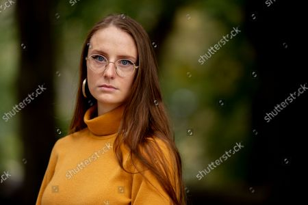 Stock Photo of Charlotte Bennett, a former health policy aide to former Gov. Andrew Cuomo, participates in an interview in New York on