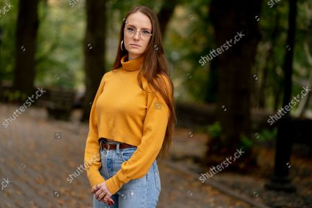 Stock Picture of Charlotte Bennett, a former health policy aide to former Gov. Andrew Cuomo, participates in an interview in New York on