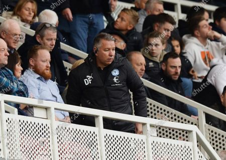 Darren Ferguson manager of Peterborough United who is serving a one match touchline ban