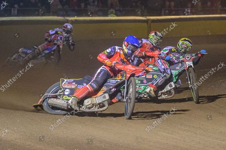 Stock Picture of Jordan Palin  (Blue) leads Charles Wright  (Yellow) and Chris Harris  (Red) during the SGB Premiership Grand Final 2nd leg between Peterborough and Belle Vue Aces at East of England Showground, Peterborough on Thursday 14th October 2021.