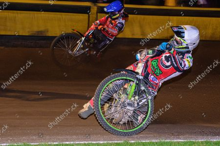 Charles Wright  (White) inside Jordan Palin  (Blue) during the SGB Premiership Grand Final 2nd leg between Peterborough and Belle Vue Aces at East of England Showground, Peterborough on Thursday 14th October 2021.