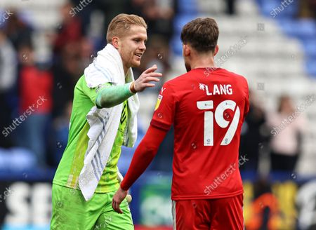 Stock Picture of Wigan Athletic goalkeeper Ben Amos and Callum Lang celebrate at full-time