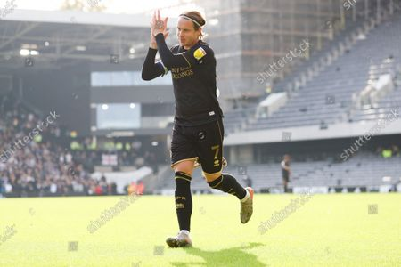 Stefan Johansen (Captain) of QPR  applauds as he receives some love from his old club's supporters