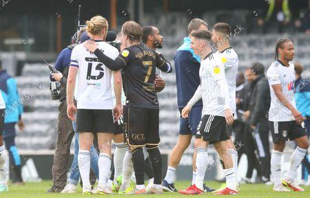 Stefan Johansen (Captain) of QPR  & Tim Ream of Fulham (L) after the match
