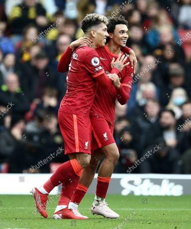 Roberto Firmino of Liverpool celebrates scoring his sides second goal with team-mate  Trent Alex-Arnold
