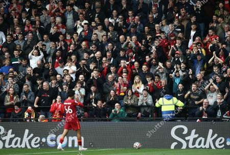 Stock Image of Trent Alex-Arnold of Liverpool  is applauded by Liverpool fans