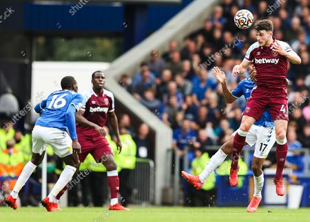 Stock Image of Declan Rice of West Ham United and Alex Iwobi of Everton