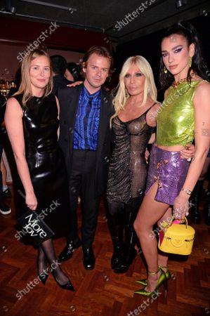 Tammy Kane, Christopher Kane, Donatella Versace and Dua Lipa