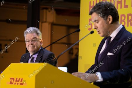 Inauguration of the platform (HUB) of DHL Express in Paris-Charles de Gaulle in the presence of Jean-Baptiste Djebbari-Bonnet Minister Delegate for Transport, John Pearson CEO of DHL Express and Philippe Pretat CEO of DHL Express France. Paris, France