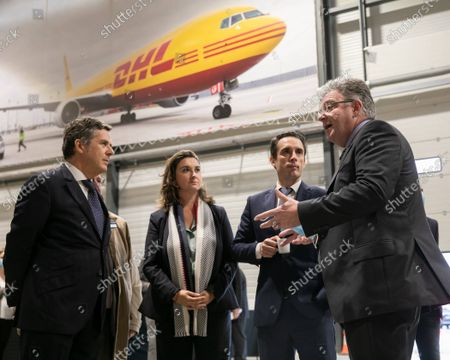 Philippe Pretat CEO of DHL Express France, John Pearson CEO of DHL Express, and Jean-Baptiste Djebbari-Bonnet Minister Delegate for Transport. Inauguration of the platform (HUB) of DHL Express in Paris-Charles de Gaulle in the presence of Jean-Baptiste Djebbari-Bonnet Minister Delegate for Transport, John Pearson CEO of DHL Express and Philippe Pretat CEO of DHL Express France. Paris, France