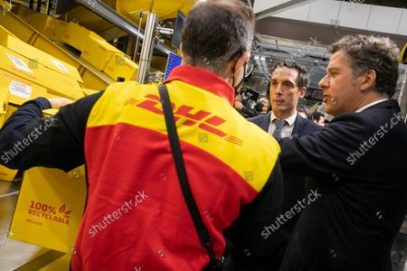 Stock Photo of Jean-Baptiste Djebbari-Bonnet Minister Delegate for Transport. Inauguration of the platform (HUB) of DHL Express in Paris-Charles de Gaulle in the presence of Jean-Baptiste Djebbari-Bonnet Minister Delegate for Transport, John Pearson CEO of DHL Express and Philippe Pretat CEO of DHL Express France. Paris, France