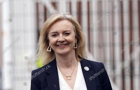 Stock Photo of Foreign Secretary Liz Truss arrives for a regional cabinet meeting at Rolls Royce in Bristol, England