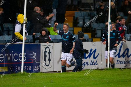 Leigh Griffiths of Dundee celebrates after scoring for 1-0 in the 49th minute; Dens Park, Dundee, Scotland; Scottish Premier League football, Dundee FC versus Aberdeen.