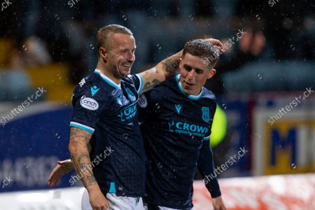 Leigh Griffiths of Dundee celebrates after scoring for 1-0 with Luke McCowan in 49th minute; Dens Park, Dundee, Scotland; Scottish Premier League football, Dundee FC versus Aberdeen.