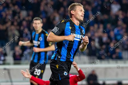 Club's Ruud Vormer celebrates after scoring during a soccer match between Club Brugge and KV Kortrijk, Friday 15 October 2021 in Brugge, on day 11 of the 2021-2022 'Jupiler Pro League' first division of the Belgian championship.