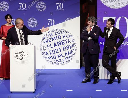 Spanish writers (L-R) Jorge Diaz, Agustin Martinez and Antonio Mercero talk to the audience after receiving the Planeta literary award for their novel 'La bestia' (The Beast) during the 70th Planeta Prize ceremony in Barcelona, Spain, 15 October 2021. Jose Creuheras, the president of Grupo Planeta, announced on 14 October 2021 that the Planeta Prize's endowment would almost double and increase to one million euros on the occasion of the Premio Planeta de Novela's 70th edition, making it the best-endowed literary award in the world.