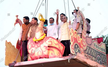 Delhi Chief Minister Arvind Kejriwal seen waving to the participants during the festival. Hindu festival of Dussehra at Lav Kush Ramlila. The 10 days are also known as Vijaydashami celebration, at the end of Navratri every year. The day marks Lord Ram's defeat over the evil king of the demon Ravana.