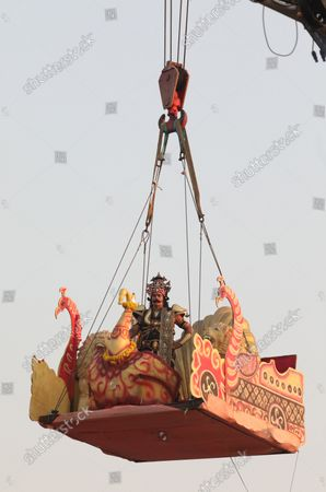 An artist dressed as demon Ravana (a symbol of evil) enact Ram-Ravana dialogue, during the festival. Hindu festival of Dussehra at Lav Kush Ramlila. The 10 days are also known as Vijaydashami celebration, at the end of Navratri every year. The day marks Lord Ram's defeat over the evil king of the demon Ravana.