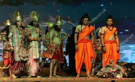 An artists enact Ravana Vadh in a drama, during the festival. Hindu festival of Dussehra at Lav Kush Ramlila. The 10 days are also known as Vijaydashami celebration, at the end of Navratri every year. The day marks Lord Ram's defeat over the evil king of the demon Ravana.