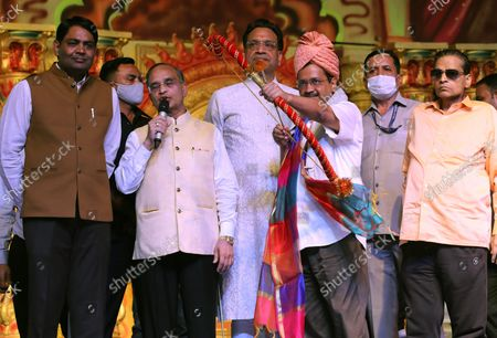 Delhi Chief Minister Arvind Kejriwal seen with a bow and arrow, ready to burn effigies of Ravana, during the festival. Hindu festival of Dussehra at Lav Kush Ramlila. The 10 days are also known as Vijaydashami celebration, at the end of Navratri every year. The day marks Lord Ram's defeat over the evil king of the demon Ravana.