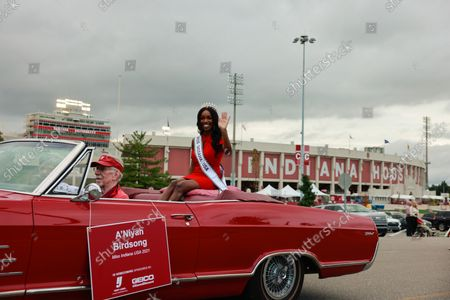 Miss Indiana USA 2021 A'Niyah Birdsong rides in a car during the Indiana University Homecoming Parade. Student Groups participate in the Indiana University (IU) Homecoming Parade. The parade began on 17th Street and Woodlawn.