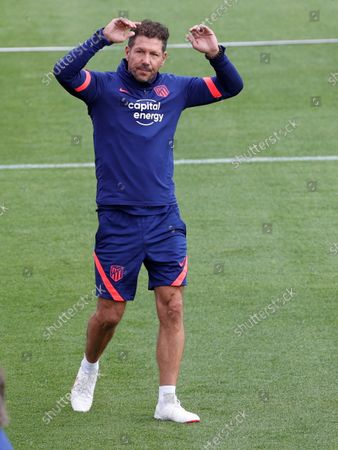 Atletico Madrid's head coach, Diego Simeone, during the team's training session held at Wanda Sports city in Majadahonda, Madrid, Spain, 16 October 2021.
