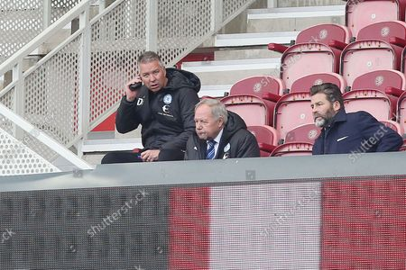 Peterborough United Manager Darren Ferguson sits in the stands after being handed a one-match touchline ban