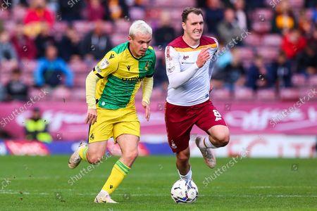 Callum Cooke of Bradford City chases down Luke Thomas of Bristol Rovers