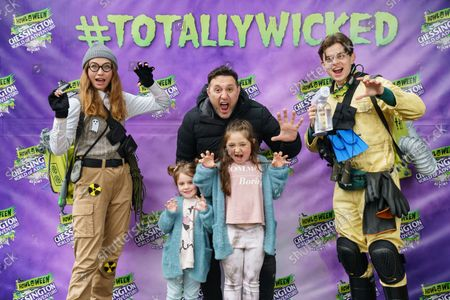 Stock Image of Antony Costa from music boyband 'Blue' and family visiting the Howl'o'ween experience at Chessington World of Adventures Resort