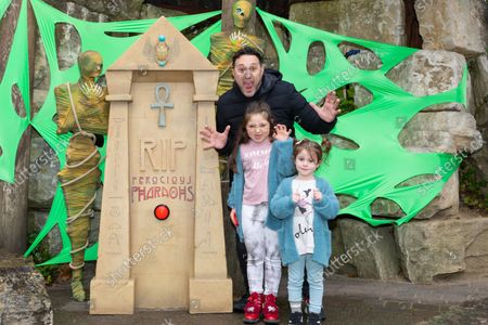 Antony Costa from music boyband 'Blue' and family visiting the Howl'o'ween experience at Chessington World of Adventures Resort