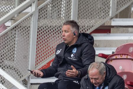 Peterborough United Manager Darren Ferguson  (m)  gives his team instructions from the stand during the EFL Sky Bet Championship match between Middlesbrough and Peterborough United at the Riverside Stadium, Middlesbrough