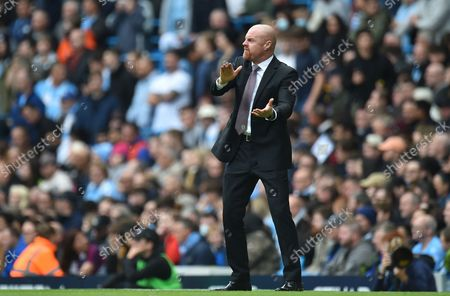 Burnley manager Sean Dyche reacts during the English Premier League soccer match between Manchester City and Burnley in Manchester, Britain, 16 October 2021.