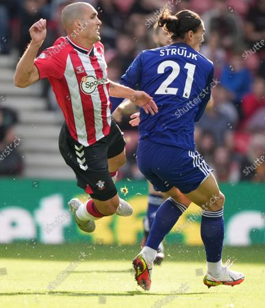 Stock Image of Oriol Romeu of Southampton brought down by Pascal Struijk of Leeds United.
