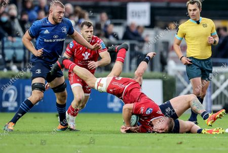Leinster vs Scarlets. Scarlets' Lloyd Ashley is tackled by Andrew Porter of Leinster