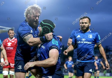 Stock Picture of Leinster vs Scarlets. Leinster's Caelan Doris celebrates after scoring a try with Andrew Porter