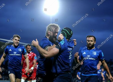 Stock Image of Leinster vs Scarlets. Leinster's Caelan Doris celebrates after scoring a try with Andrew Porter