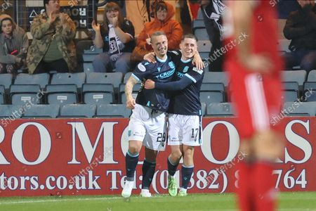 GOAL 1-0  Dundee's Dundee's Leigh Griffiths (29) scores a goal 1-0 and celebrates, celebration during the Cinch Scottish Premiership match between Dundee and Aberdeen at Dens Park, Dundee