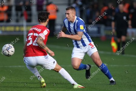 David Ferguson of Hartlepool United in action during the Sky Bet League 2 match between Salford City and Hartlepool United at Moor Lane, Salford on Saturday 16th October 2021.