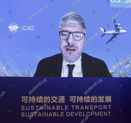 """(211016) - BEIJING, Oct. 16, 2021 (Xinhua) - International Civil Aviation Organization (ICAO) Secretary General Juan Carlos Salazar speaks via video link at a thematic session on """"Sustainable transport and green development"""" during the Second United Nations Global Sustainable Transport Conference held in Beijing, capital of China, Oct. 16, 2021."""