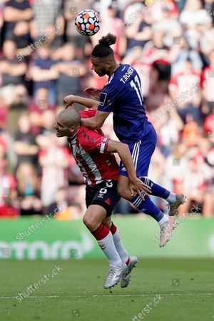 Leeds United's Tyler Roberts battles against Southampton's Oriol Romeu for a header during an English Premier League soccer match at St. Mary's Stadium in Southampton, England, . Southampton won 1-0