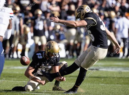 Colorado Buffaloes place kicker Cole Becker (36) kicks an extra point in the football game between Colorado and Arizona at Folsom Field in Boulder, CO. Colorado won 34-0