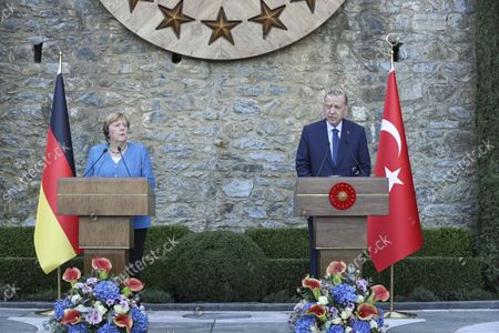 (211016) - ISTANBUL, Oct. 16, 2021 (Xinhua) - Turkish President Recep Tayyip Erdogan (R) and the outgoing German Chancellor Angela Merkel is waiting for a joint press conference in Istanbul, Turkey, on Oct. 16, 2021. Turkish President Recep Tayyip Erdogan and the outgoing German Chancellor Angela Merkel held farewell talks in Istanbul on Saturday.