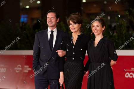 Stock Image of Melvin Poupad, Fanny Ardant and director Carine Tardieu attend the red carpet of the movie Les Jeunes Amants (The Young Lovers) during the 16th Rome Film Fest 2021 on October 16, 2021 in Rome, Italy