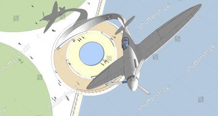 Graphic showing how Nick Hancock's winning Spitfire memorial design will look