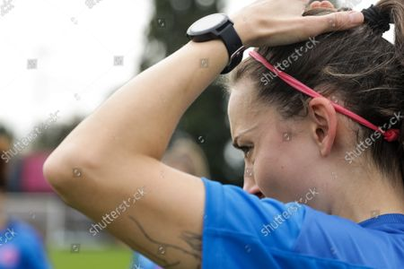 Stock Picture of Sarah Milner (17 Dulwich Hamlet) prior to the London and South East Regional Womens Premier game between Dulwich Hamlet and Ashford at Champion Hill in London, England.