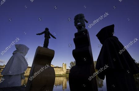 Editorial picture of Samuel Beckett Chess Set public artwork installation, Enniskillen, County Fermanagh, Northern Ireland - 17 Oct 2021