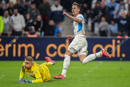 Stock Picture of Marseille's Arkadiusz Milik scores his side's third goalduring the French League One soccer match between Marseille and FC Lorient at the Velodrome stadium in Marseille, France