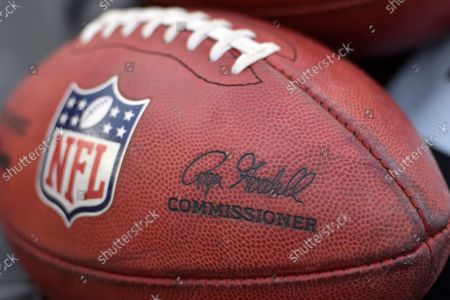 General view of a football featuring the signature of commissioner Roger Goodell before an NFL football game between the Arizona Cardinals and the Cleveland Browns, in Cleveland. The Cardinals won 37-14